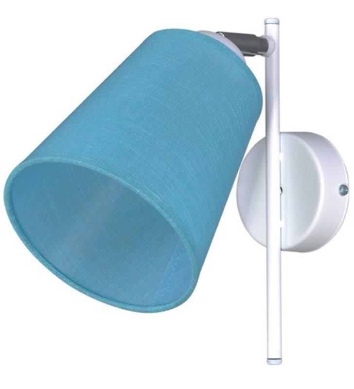 Kinkiet Filton biały z niebieskim abażurem nowoczesny do salonu sypialni na przedpokój do pokoju dziecka