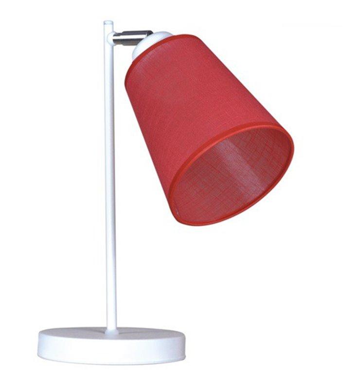 Lampa stołowa Pescara biała z czerwonym abażurem