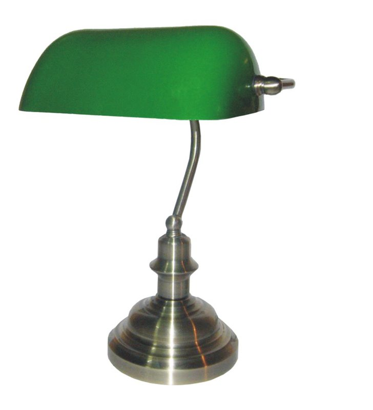 Lampa gabinetowa Bank patynowa bankierka z zielonym kloszem 34cm wysokości