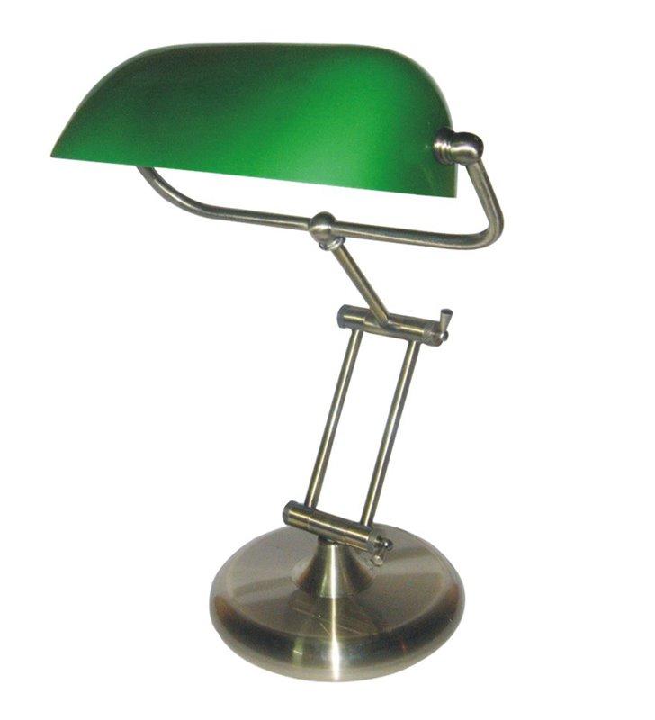 Lampa gabinetowa Bank patyna zielony klosz regulacja ramienia bankierka