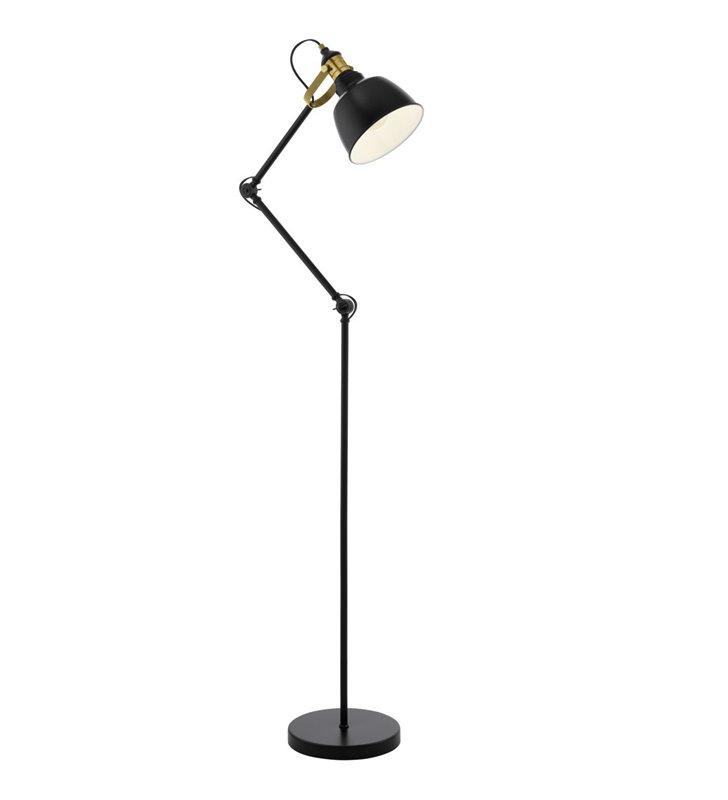 Lampa stojąca Thornford z regulacją ramienia czarna z patynowym wykończeniem styl vintage retro