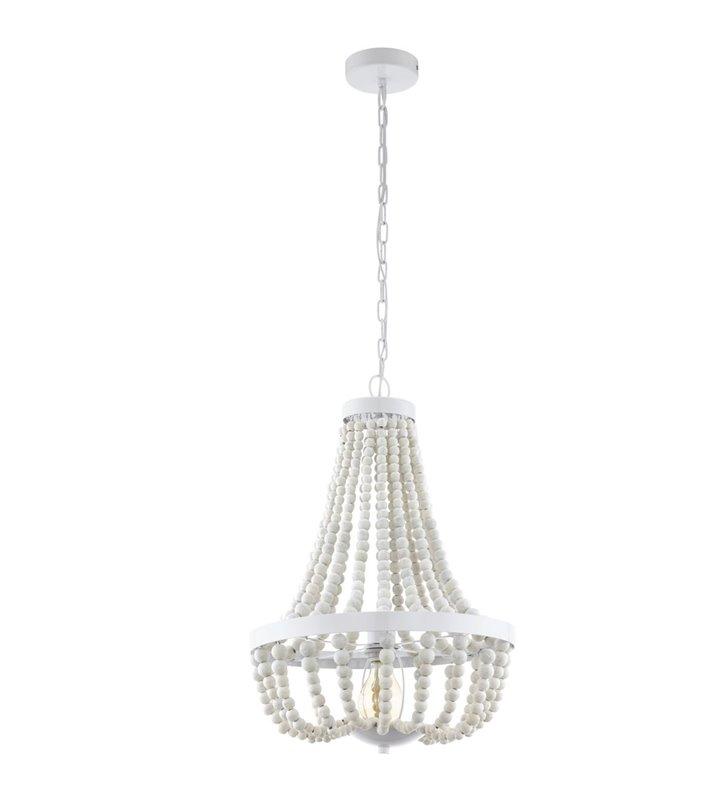 Lampa wisząca żyrandol Barrhill w stylu retro kremowe koraliki z drewna białe wykończenie