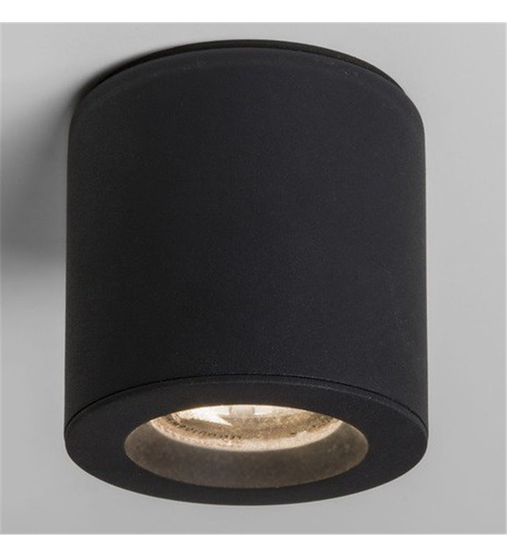 Okrągła lampa łazienkowa typu downlight czarna Kos Round ściemnialna