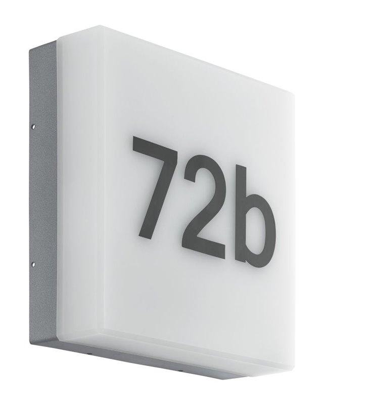Lampa ścienna zewnętrzna z numerem domu Cornale sensor dzień noc wymienny moduł LED