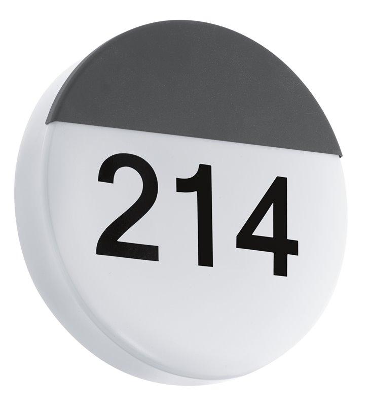 Okrągły kinkiet zewnętrzny z numerem domu Oropos z wymiennym modułem LED