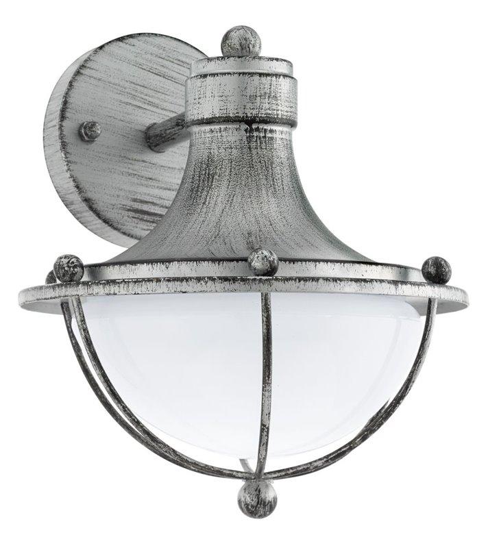 Klasyczny kinkiet ogrodowy Monasterio w kolorze antycznego srebra klosz szklany satynowany