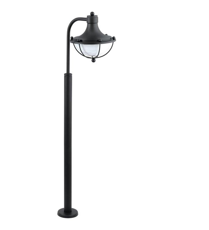 Stojąca lampa zewnętrza słupek ogrodowy Monasterio czarny szklany klosz