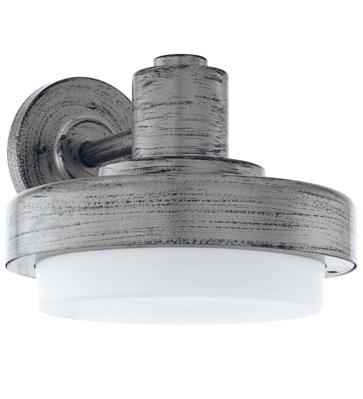 Kinkiet ogrodowy Tollera styl vintage kolor antyczne srebro biały klosz
