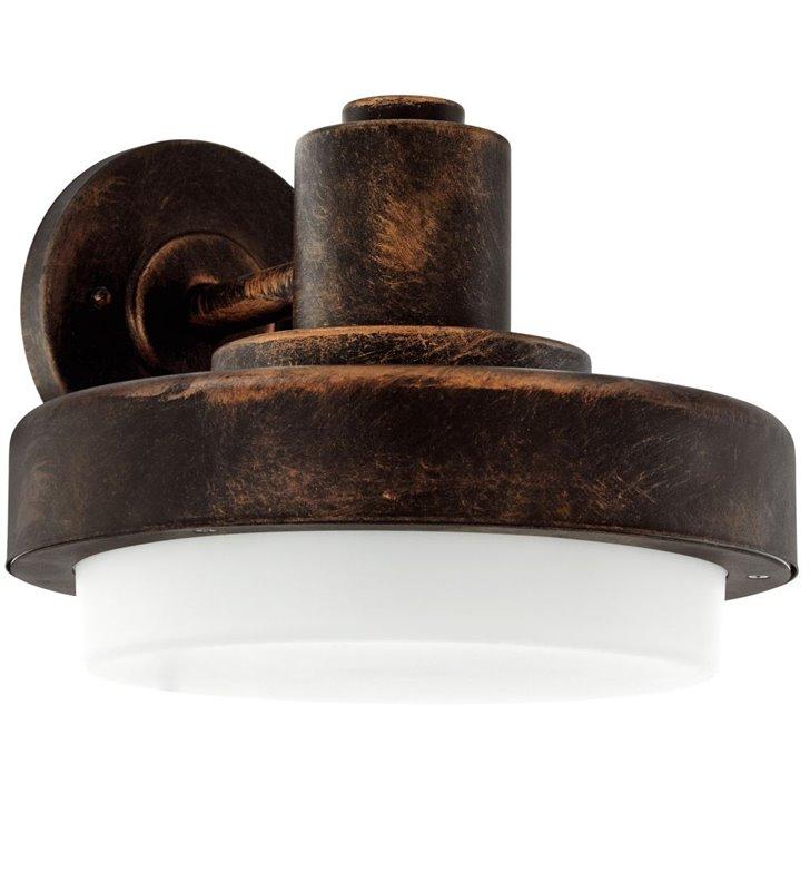 Ścienna lampa ogrodowa Tollera styl vintage kolor antyczna miedź biały klosz