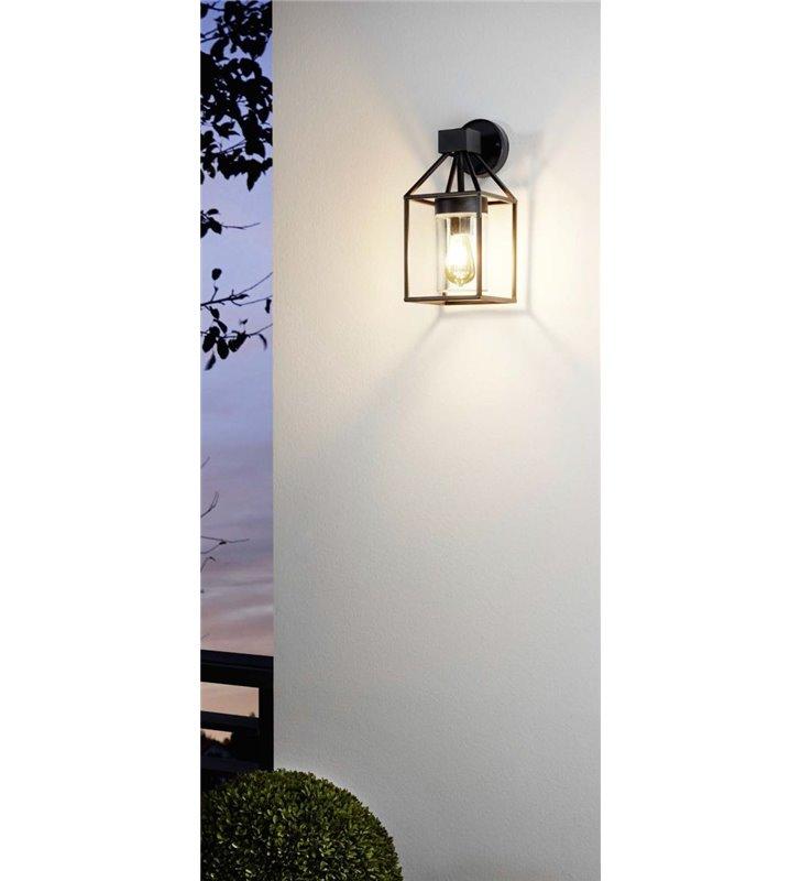 Kinkiet zewnętrzny ogrodowy Trecate czarny bezbarwny klosz ze szkła widoczna żarówka