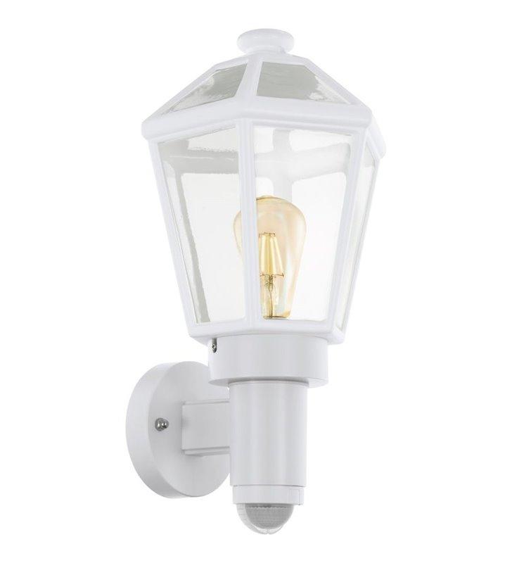 Kinkiet ogrodowy typu latarenka Monselice biały z czujnikiem ruchu