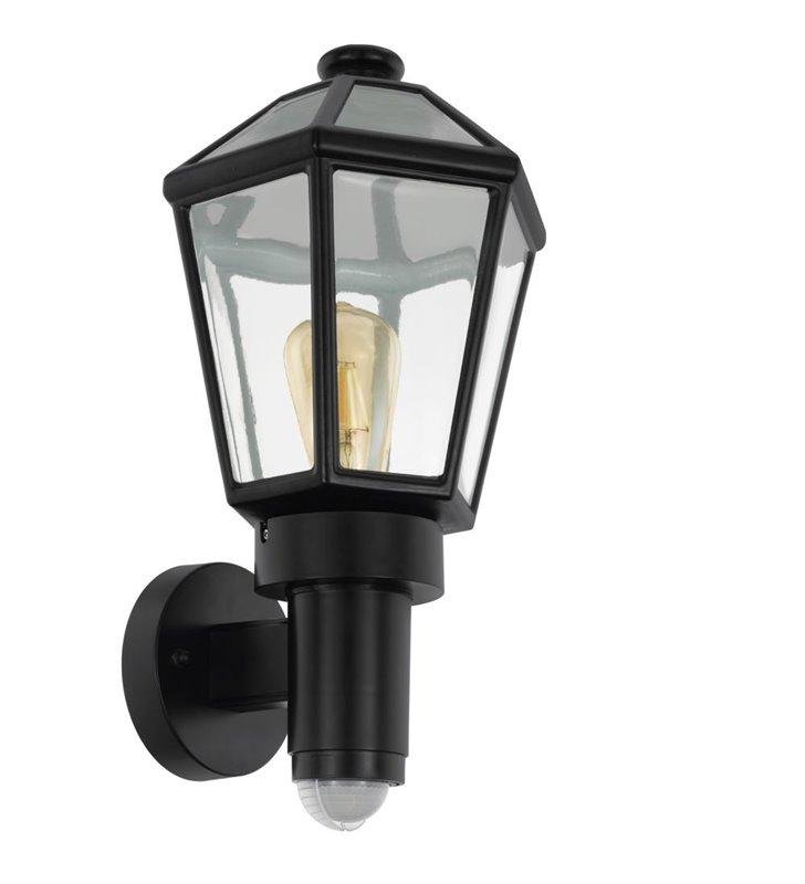 Czarny kinkiet ogrodowy typu latarenka Monselice czujnik ruchu IP44