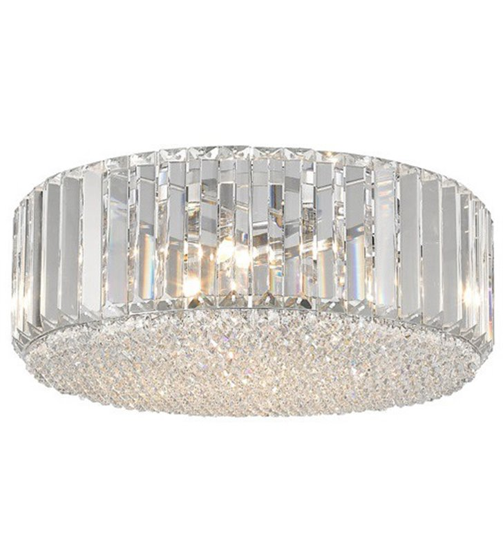 Okrągły plafon kryształowy Prince 460 podłużne i drobne bezbarwne kryształy