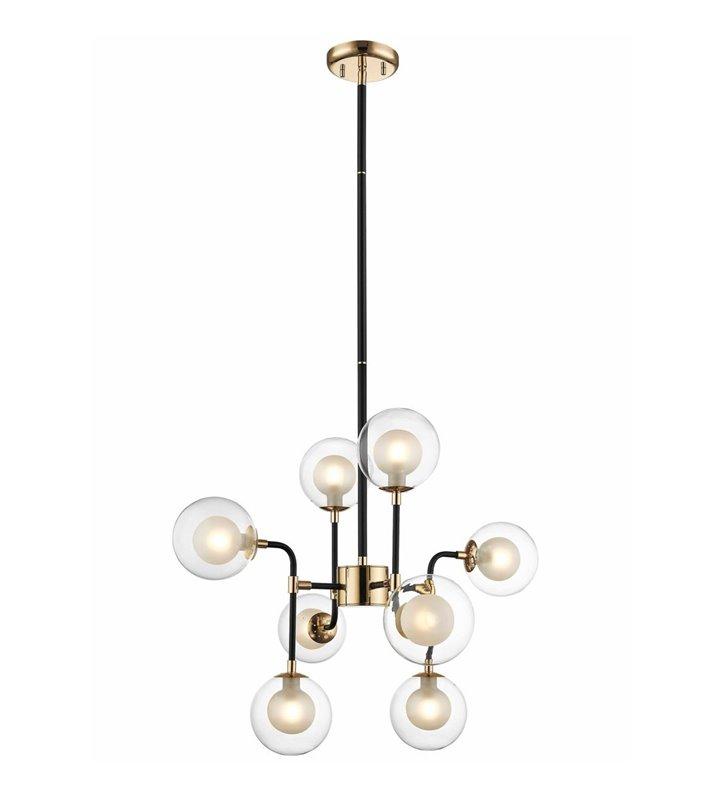 Żyrandol lampa wisząca Riano 8 żarówek styl nowoczesny kolor czarny ze złotym wykończeniem okrągłe szklane klosze
