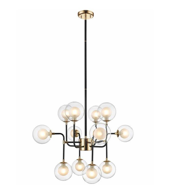 12 punktowy nowoczesny żyrandol lampa wisząca Riano czarno złoty klosze kule