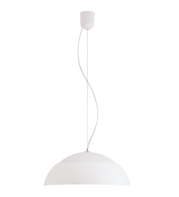 Biała duża lampa wisząca Marghera kopuła 65cm do salonu sypialni kuchni jadalni możliwość ściemniania moduł LED wymienny