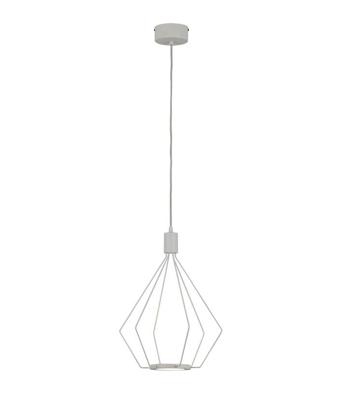 Lampa wisząca Cados LED biała druciana pojedyncza styl loftowy industrialny minimalistyczny