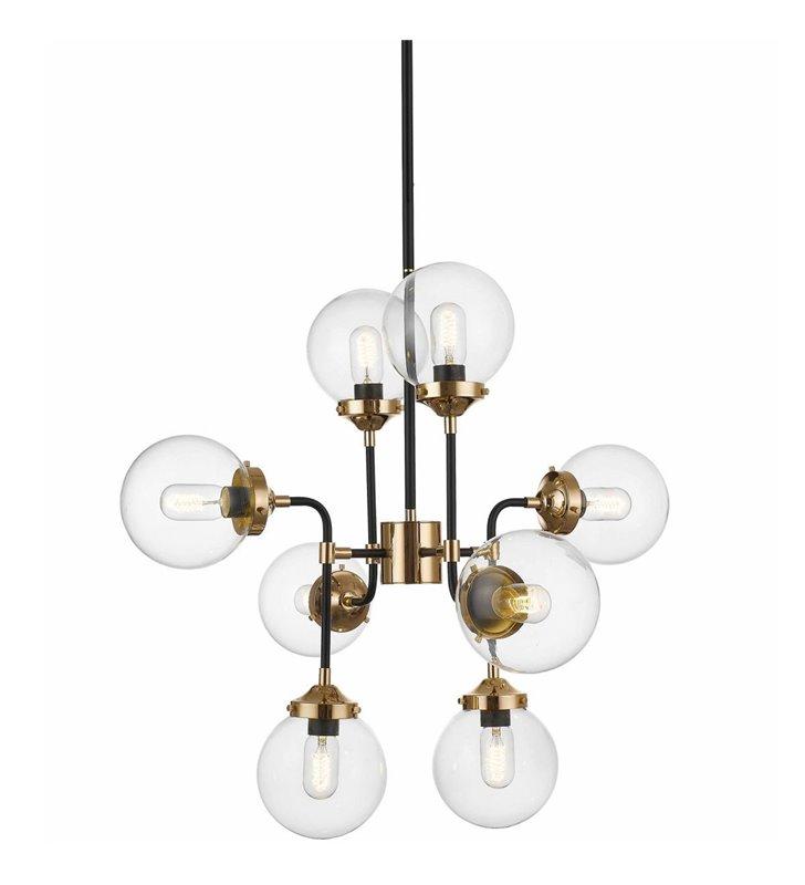 Nowoczesny żyrandol 8 ramienny lampa wisząca Riano czarno złoty klosze bezbarwne kule do salonu sypialni kuchni jadalni