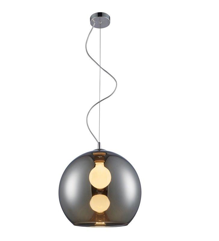 Szklana lampa wisząca Vero chrom klosz w kształcie kuli 35cm średnica