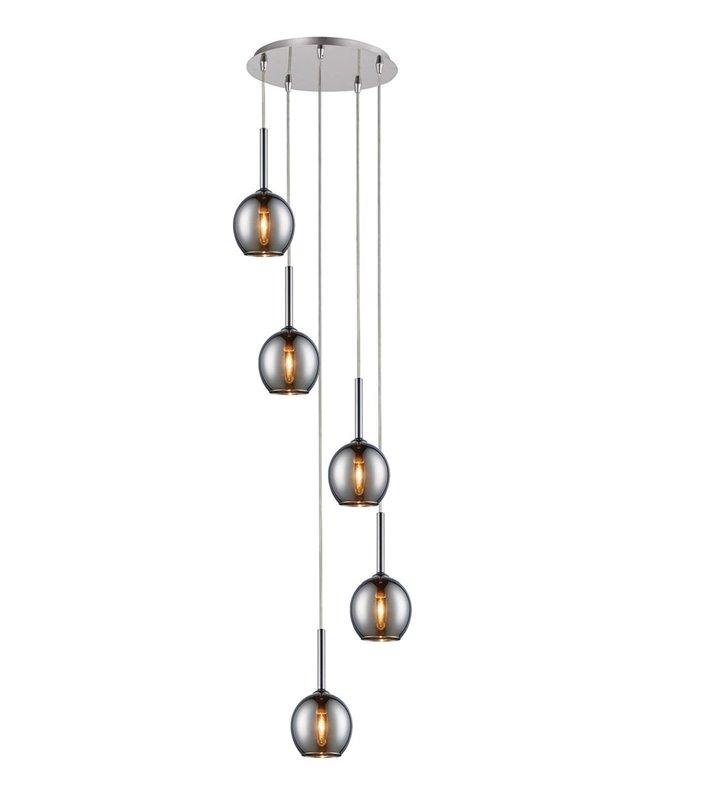 5 punktowa długa lampa wisząca typu kaskada Monic chrom klosze szklane okrągłe nad schody do salonu sypialni jadalni nad stół