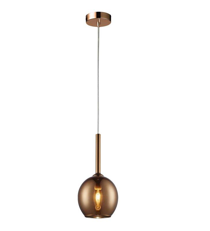 Pojedyncza miedziana lampa wisząca Monic mała szklany klosz kula nowoczesna