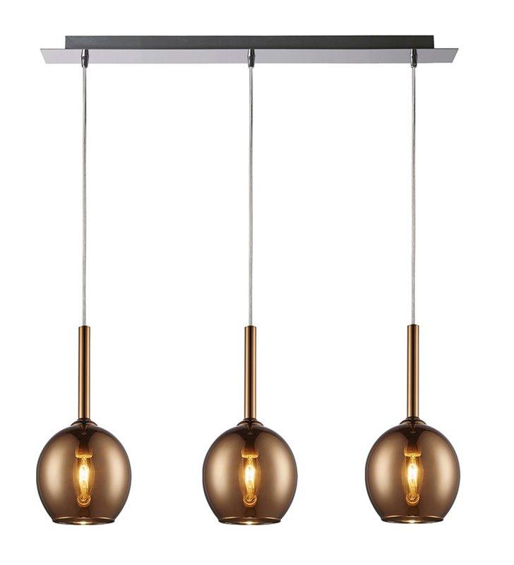 Potrójna lampa wisząca Monic na belce szklane klosze w kolorze miedzi np. nad stół do jadalni lub nad wyspę kuchenną