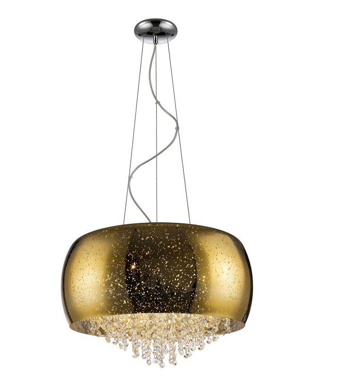 Vista złota elegancka dekoracyjna lampa wisząca z drobnymi kryształami na kloszu krople deszczu
