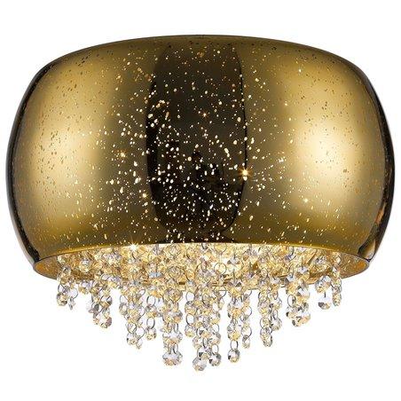 Złoty szklany plafon Vista 400 klosz z efektem kropli deszczu drobne kryształki do salonu sypialni holu
