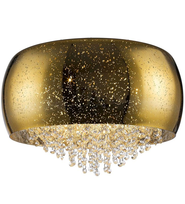 Złoty szklany plafon Vista 50cm na szklanym kloszu krople deszczu drobne kryształki do salonu sypialni holu