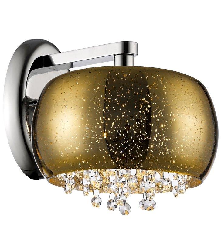 Kinkiet Vista ze złotym szklanym kloszem z efektem kropli deszczu wewnątrz drobne kryształy