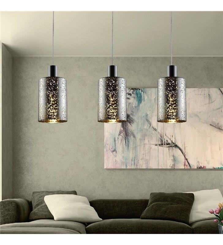 Nowoczesna potrójna lampa wisząca Pioli szklane klosze z dekorem np. nad stół do jadalni nad wyspę kuchenną