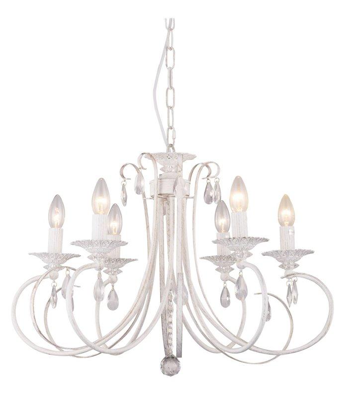 Żyrandol Novia biały świecznikowy klasyczny ozdobiony kryształkami 6 żarówek