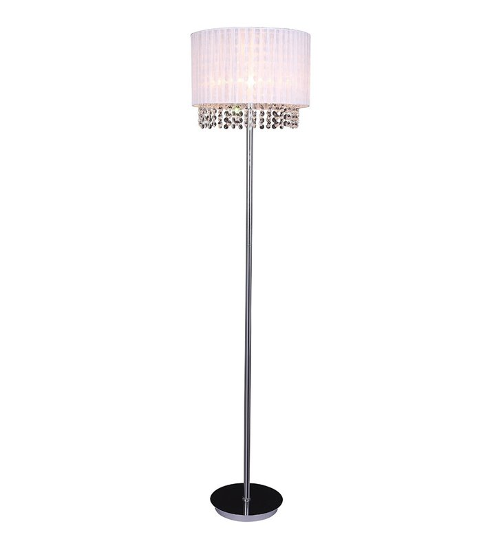 Lampa podłogowa Astra podstawa chrom biały tekstylny abażur z kryształkami