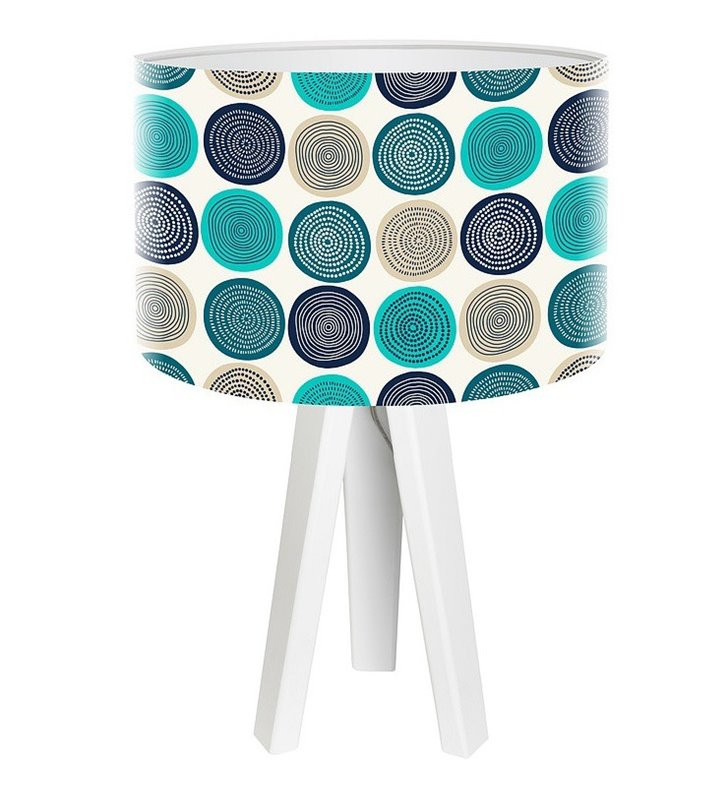 Lampa stołowa Freak Folk White białe nogi z drewna abażur z kolorowym nadrukiem