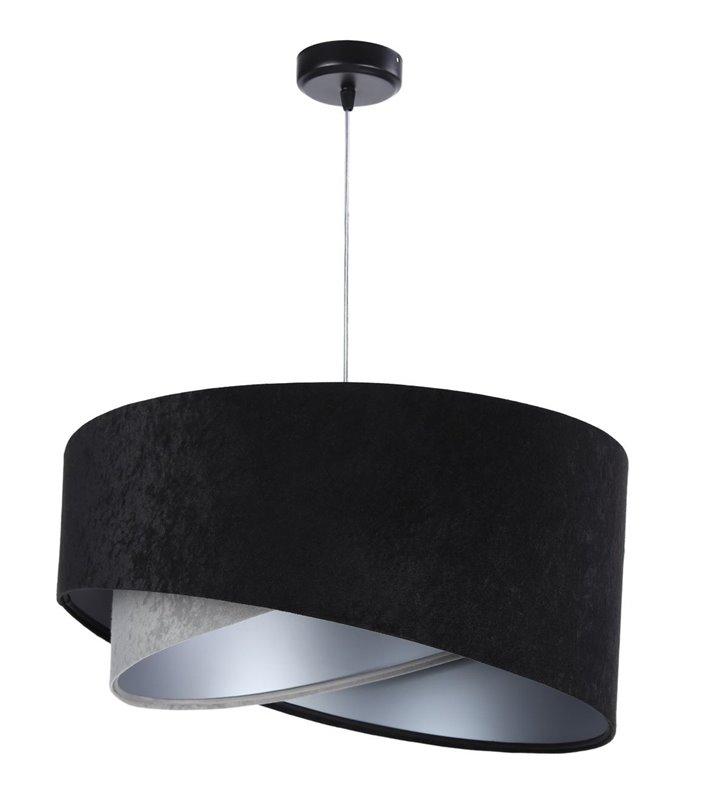 Tiziano welurowa wisząca lampa asymetryczny podwójny abażur czarno szara