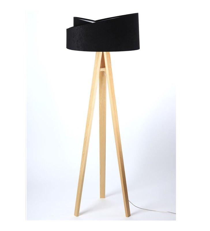 Lampa podłogowa Donna czarno srebrny asymetryczny abażur drewniany sosnowy trójnóg do sypialni jadalni salonu