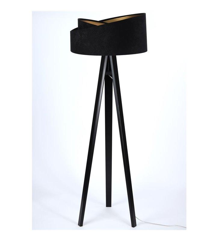 Lampa stojąca Emi czarno złoty asymetryczny abażur z weluru czarny drewniany trójnóg do sypialni jadalni salonu
