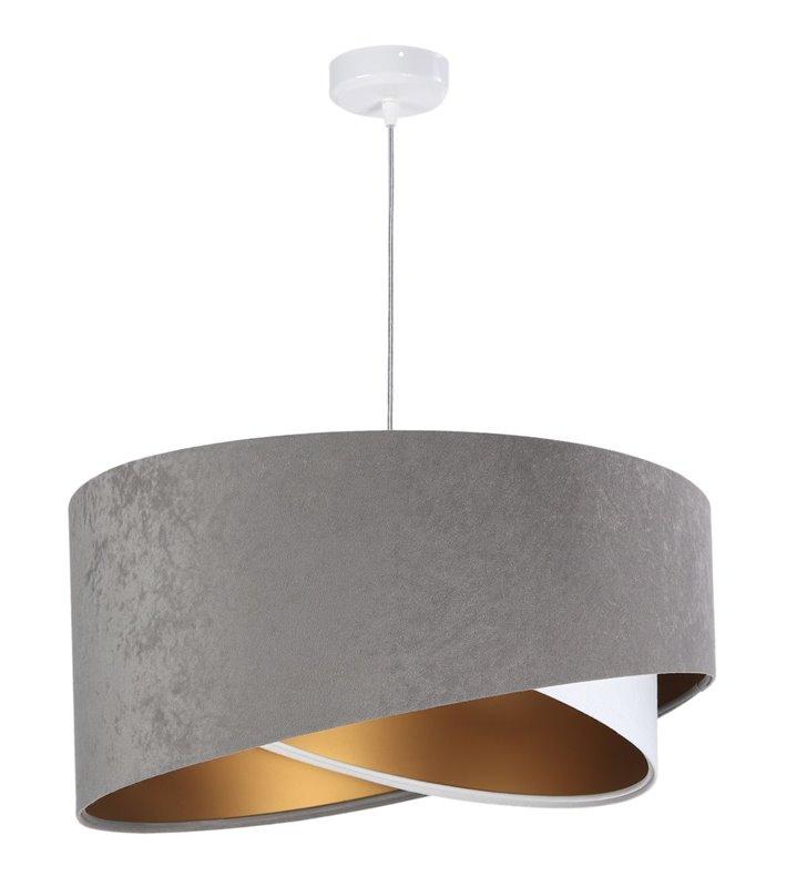 Welurowa lampa wisząca Agostina podwójny abażur szary biały wewnątrz złoty styl nowoczesny