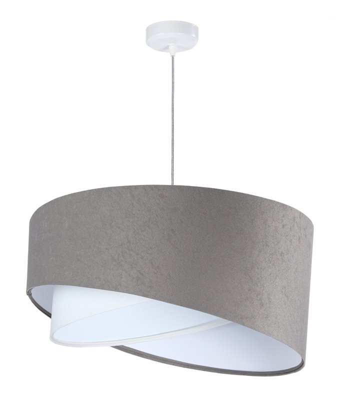 Lampa wisząca Paola szaro biała abażur welur asymetria nowoczesna do salonu sypialni pokoju dziennego gościnnego