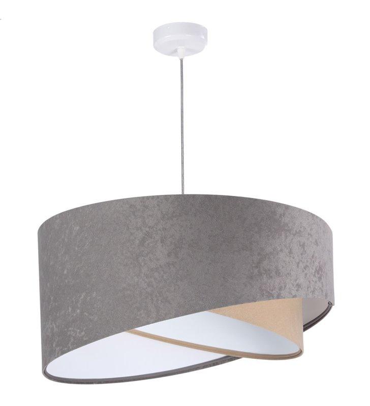 Szaro beżowa lampa wisząca Taddeo abażur z weluru asymetryczny do pokoju dziennego średnica 50cm