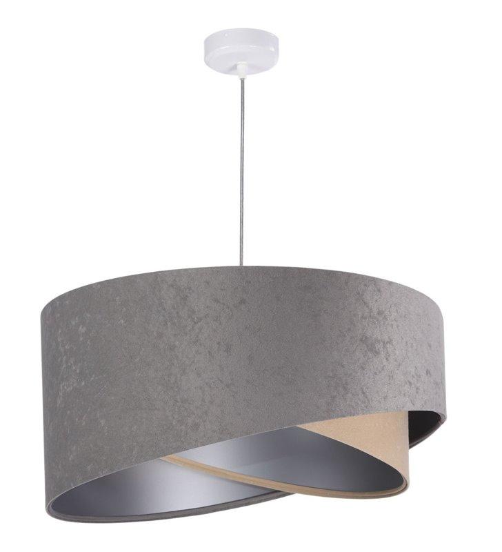 Lampa wisząca Domenica szaro beżowa abażur z weluru asymetryczny wewnątrz srebrny średnica 50cm
