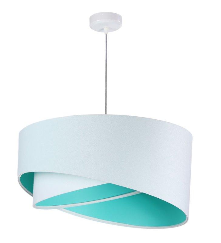 Lampa wisząca Silvana biały welurowy abażur 50cm wnętrze kolor morski do salonu jadalni sypialni pokoju dziecka