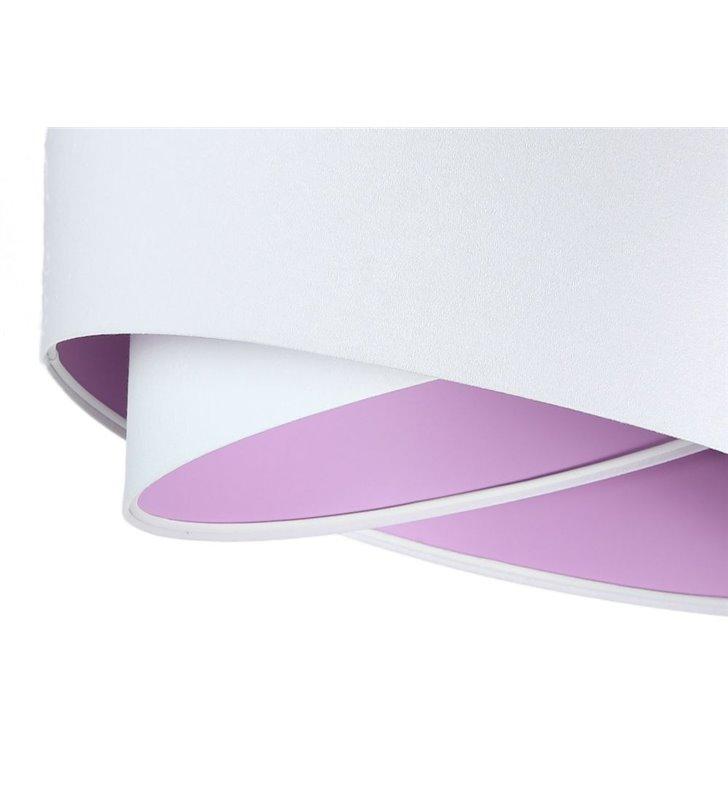 Biała lampa wisząca Orsola wnętrze liliowe z tkaniny welurowej abażur 50cm
