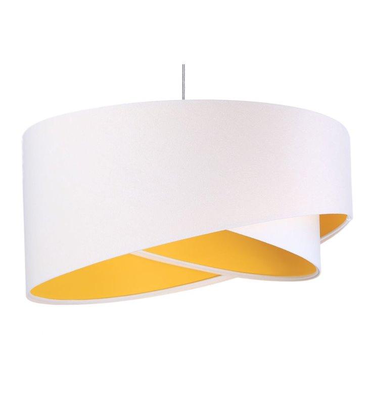 Lampa wisząca Serafina biała welurowa z żółtym środkiem do pokoju dziennego sypialni jadalni pokoju dziecka