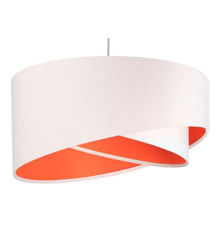 Elia biało pomarańczowa nowoczesna lampa wisząca z tkaniny welurowej