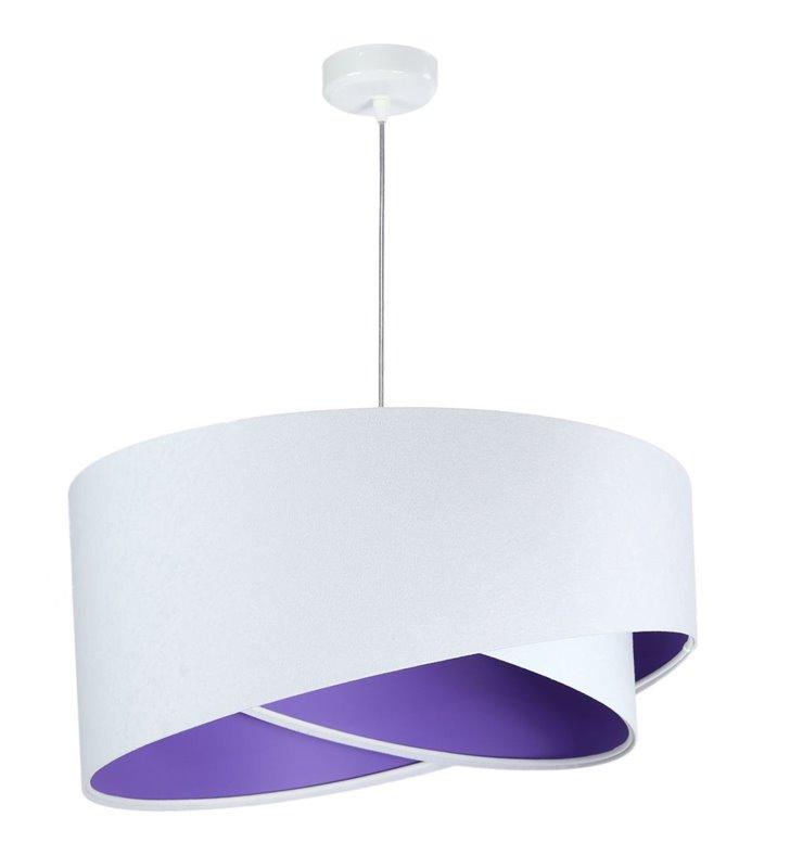 Biało fioletowa nowoczesna lampa wisząca Boris z weluru do pokoju dziecka do salonu jadalni sypialni