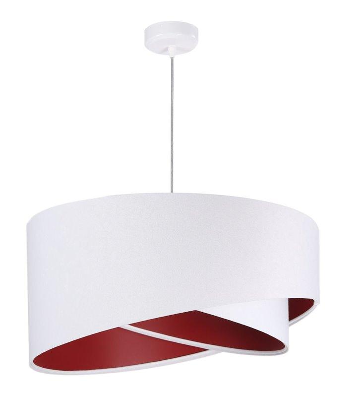 Lampa wisząca Floriano biały welur wnętrze bordowe abażur asymetryczny do salonu jadalni sypialni pokoju dziecka gościnnego