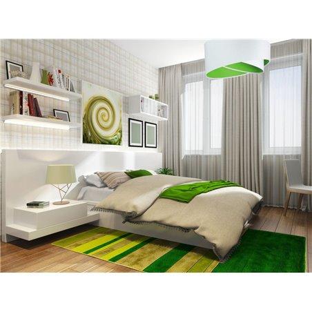 Lampa wisząca Giulio biała welurowa zielony środek abażura asymetria do pokoju dziennego gościnnego dziecięcego jadalni sypialni