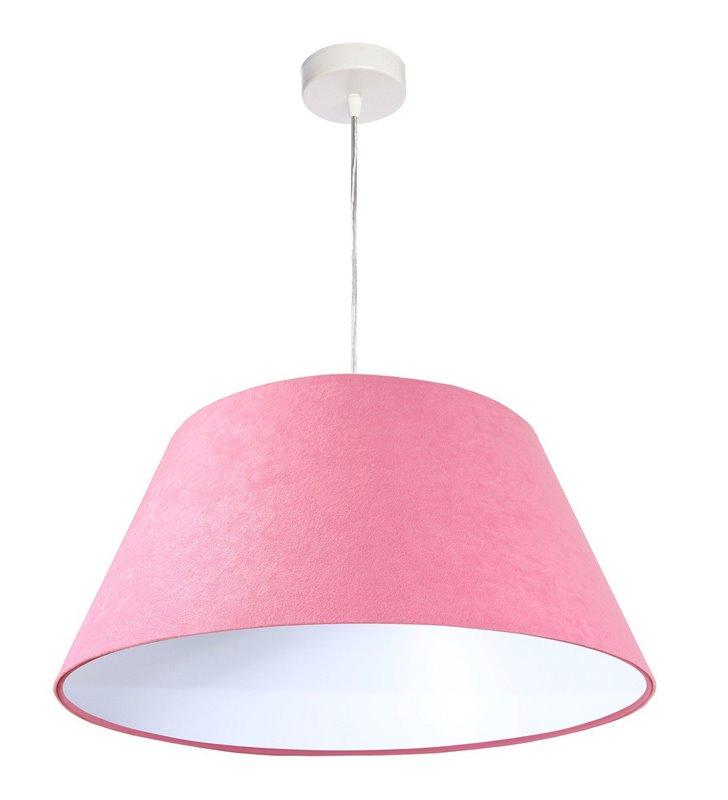 Lampa wisząca Coimbra różowa welurowa abażur stożek do pokoju dziennego sypialni jadalni pokoju dziewczynki