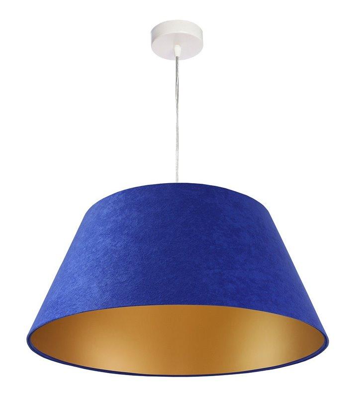 Lampa wisząca Madera niebieska ze złotym środkiem abażur stożek z tkaniny welurowej